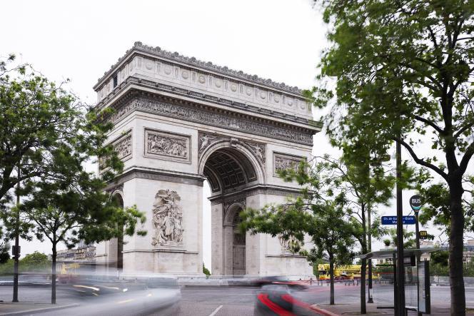 L'Arc de Triomphe au centre de la place Charles-de-Gaulle, ou place de l'Etoile, à Paris, le 20 juin 2021.