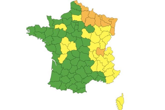 Carte de vigilance orange Météo-Francepubliée le 16 juillet 2021 à 6h05.