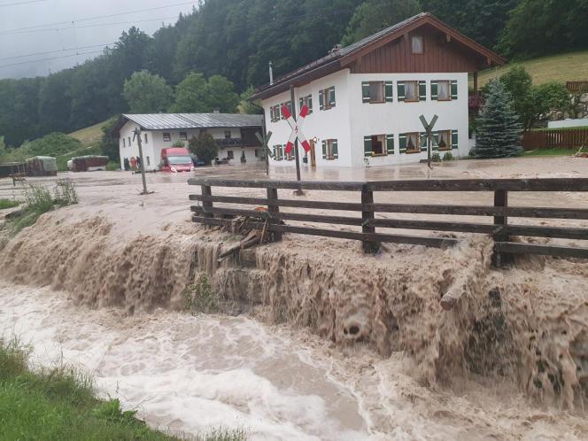 Powodzie w Bischofswiesen, południowe Niemcy, sobota, 17 lipca 2021 r.