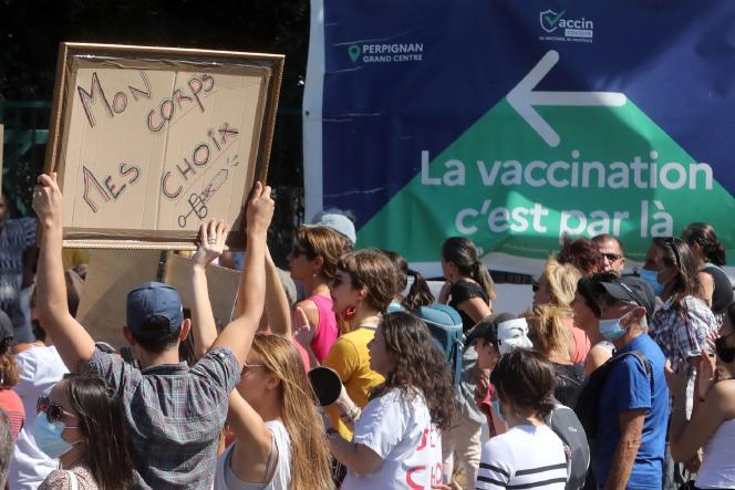 Manifestation contre le passe sanitaire à Perpignan, samedi 17 juillet 2021.