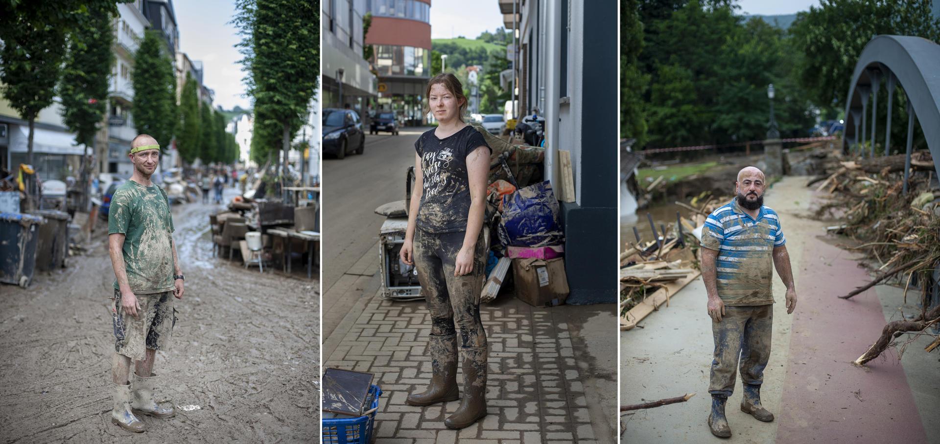Bad Neuenahr, Allemagne, le 17 juillet 2021. David Bogumila, 40 ans, peu touché, aide ses voisins.Julia Weber, 22 ans, étudiante à Bonn, est venue pour aider des amis. Elyas Nader, 42ans, installé depuis 17ans dans la ville où il est propriétaire d'un bar à chicha. Il a tout perdu.