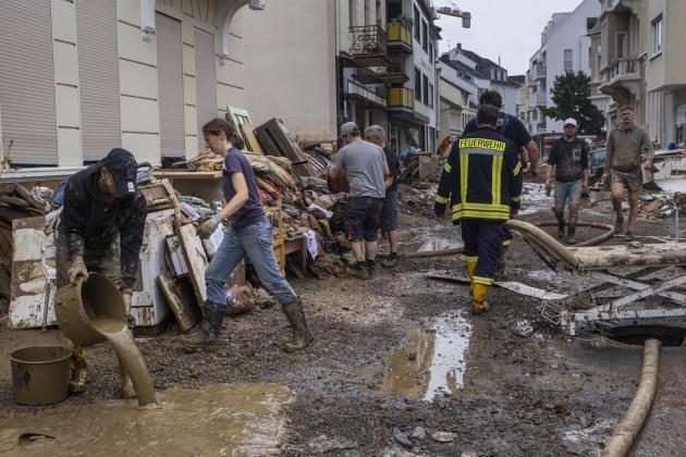 A Bad Neuenahr, Allemagne, le 17 juillet 2021. Les habitants sont habitués auxintempéries, mais cette année c'est une catastrophe pour eux.