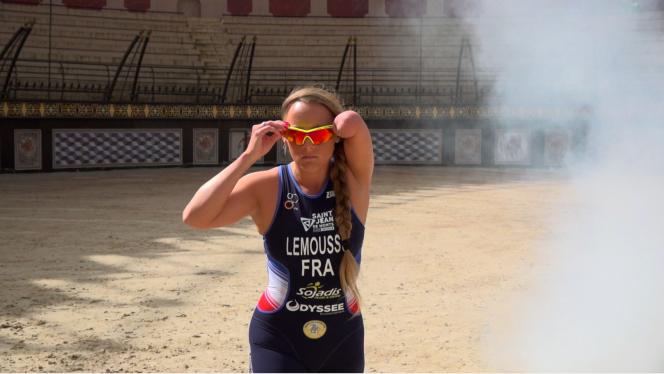 Gwladys Lemoussu, 32, triathlete met in the arena of the Puy du Fou amusement park, in Vendée.