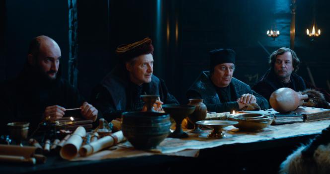 De gauche à droite, Jean-Robert Lombard (Père Blaise), Antoine de Caunes (Dagonet), Christian Clavier (le jurisconsulte) et François Rollin (Loth d'Orcanie).