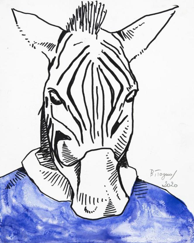 Barthélémy Toguo, «The Animal Comedy 16», encre sur papier, 2020.