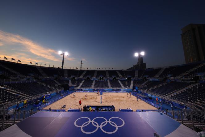 Entraînement de volley-ball,aux Jeux olympiques de Tokyo,le 19 juillet 2021.