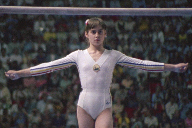 La gymnaste Nadia Comaneci, lors des JO de Montréal, en 1976.