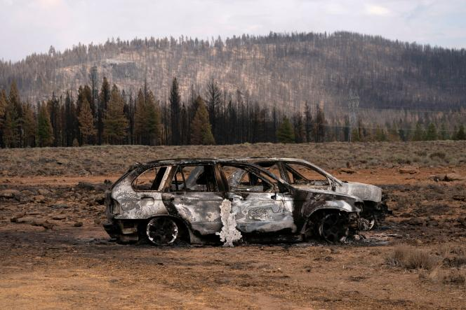 Remains of cars destroyed by the Bootleg fire near Beatty, Oregon on July 21, 2021.