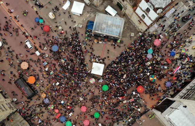 Une manifestation contre le gouvernement du président colombien Ivan Duque, lors de la fête de l'indépendance à Bogota, le 20juillet2021.