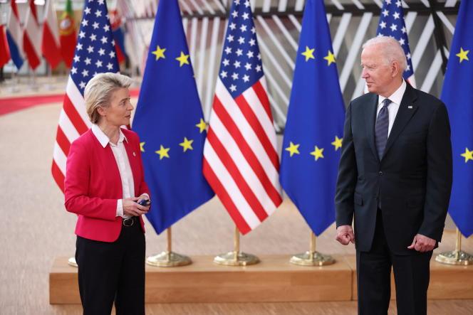 Ursula von der Leyen, présidente de la Commission européenne, et Joe Biden, président des Etats-Unis,le 15 juin à Bruxelles.