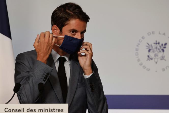 Le porte-parole du gouvernement, Gabriel Attal, lors d'une conférence de presse à l'Elysée, le 19 juillet 2021.