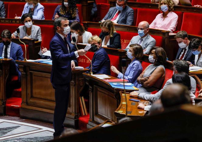 Le ministre français de la santé, Olivier Véran, à l'Assemblée nationale, à Paris, le 20juillet2021.