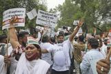 Une manifestation du Parti du Congrès, après les révélations de l'affaire Pegasus, le 20 juillet 2021, à New Delhi.
