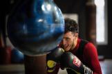 Le boxeur français Billal Bennama, à l'entraînement, à Blagnac (Haute-Garonne), en janvier 2021.