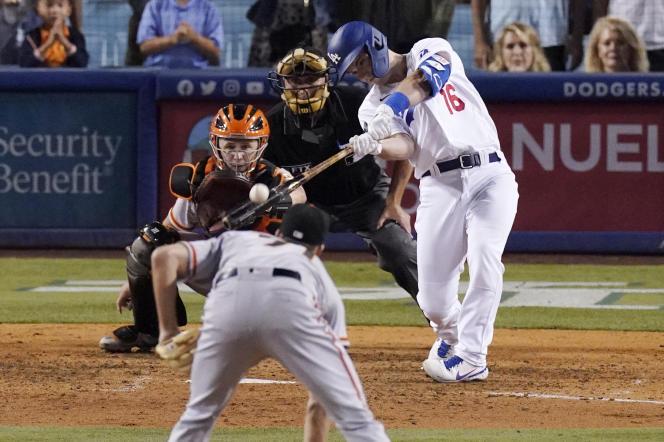 Une action du match entre les Los Angeles Dodgers et les San Francisco Giants , le 20 juillet.