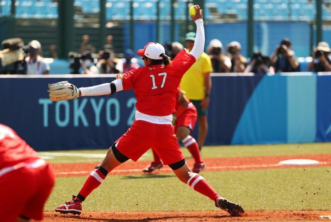 Yukiko Ueno, joueuse de softball japonaise, à Fukushima, le 21juillet2021.