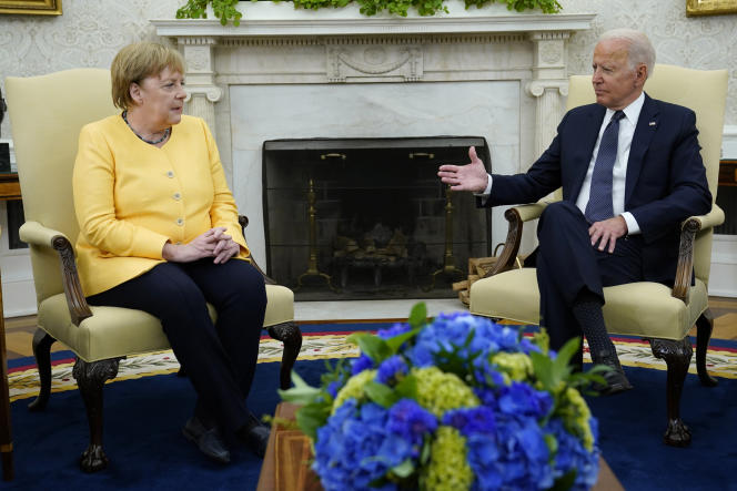 German Chancellor Angela Merkel and US President Joe Biden at the White House in Washington on July 15, 2021.
