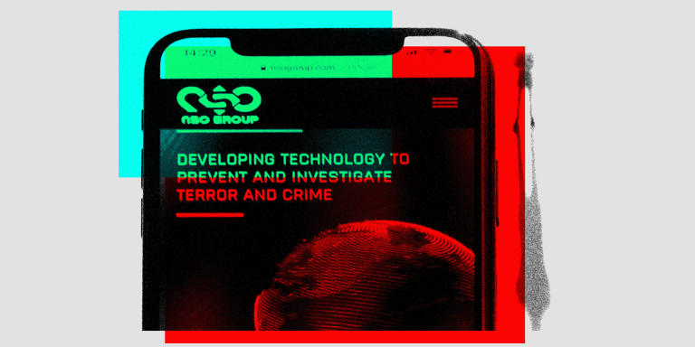 This studio photographic illustration shows a smartphone with the website of Israel's NSO Group which features 'Pegasus' spyware, on display in Paris on July 21, 2021.  Private Israeli firm NSO Group has denied media reports its Pegasus software is linked to the mass surveillance of journalists and rights defenders, and insisted that all sales of its technology are approved by Israel's defence ministry (Photo by JOEL SAGET / AFP)