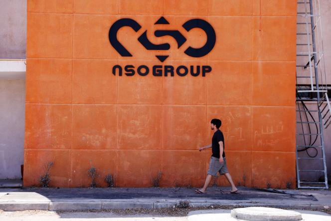 Devant l'une des branches de l'entreprise israélienne NSO dans le sud d'Israël, le 22 juillet 2021.