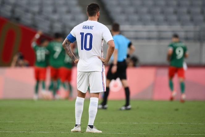 André-Pierre Gignac n'a rien pu faire pour éviter la défaite de l'équipe de France contre le Mexique, jeudi 22 juillet à Tokyo.
