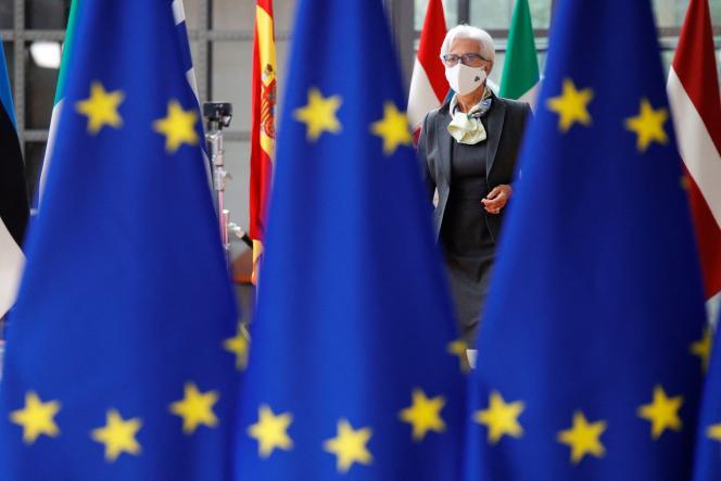 La présidente de la Banque centrale européenne, Christine Lagarde, au sommet de l'Union européenne (UE) à Bruxelles, le 25 juin 2021.