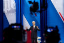 Cameras are visible in the foreground as President Joe Biden speaks at a CNN town hall at Mount St. Joseph University in Cincinnati, Wednesday, July 21, 2021. (AP Photo/Andrew Harnik)