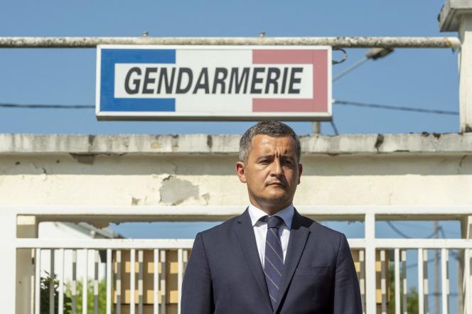 Le ministre de l'intérieur, Gérald Darmanin, le 22juillet 2021 à Ambert, dans le Puy-de-Dôme.