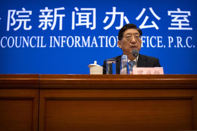 El viceministro de Salud de China, Zheng Yixin, habló en una conferencia de prensa el 22 de julio de 2021 en Beijing.