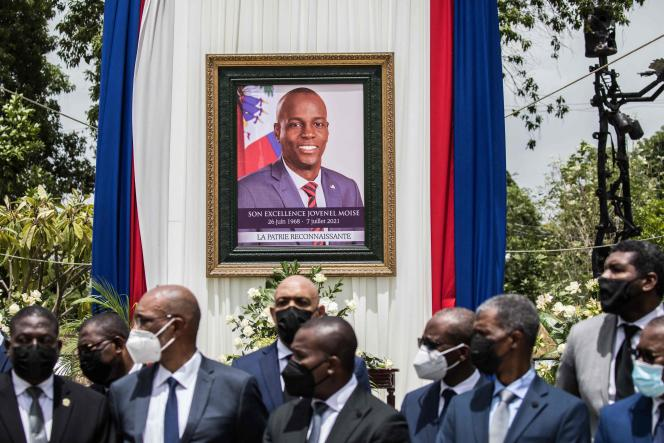 Officials are attending a ceremony in memory of President Hayton Jowanel Moss on July 20, 2021 in Port-au-Prince, Haiti.