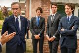 Bernard Arnault et trois de ses fils lors de l'inauguration du Campus Jean-Arnault, grand-père de Bernard, à Roubaix (Nord), le 9juillet 2021.