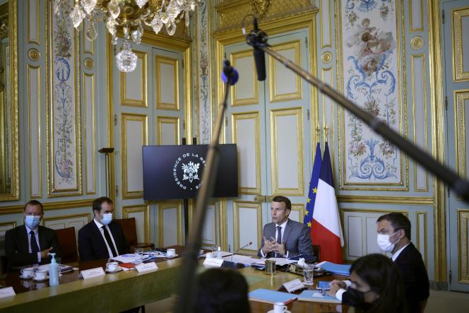 Emmanuel Macron, lors d'un sommet France-Océanie en vidéoconférence, à l'Elysée, lundi 19 juillet 2021.