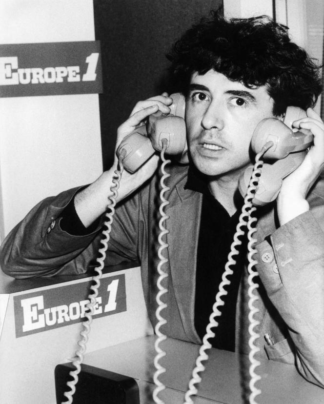 Jean-Yves Lafesse au siège d'Europe 1, le 16 septembre 1986.