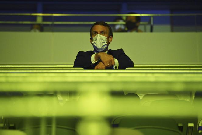 Emmanuel Macron, à Tokyo, pour la cérémonie d'ouverture des JO, le 23 juillet.