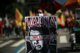 Un manifestant contre le président Jair Bolsonaro, le 24 juillet 2021 à Rio de janeiro au Brésil.