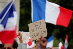 Manifestationplace du Trocadéro à Paris, le 24juillet 2021.