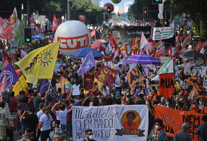 Manifestation contre Jair Bolsonaro à Rio de Janeiro, au Brésil, le 24 juillet 2021.