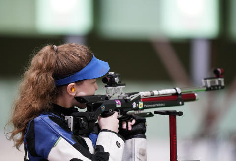 Oceanne Muller, of France, competes in the women's 10-meter air rifle at the Asaka Shooting Range in the 2020 Summer Olympics, Saturday, July 24, 2021, in Tokyo, Japan. (AP Photo/Alex Brandon)