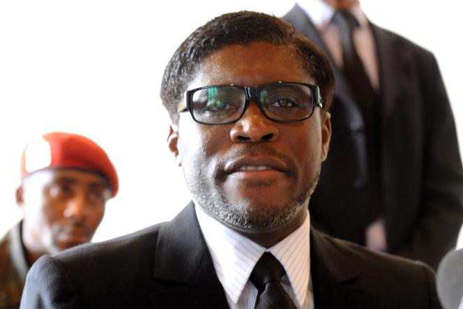 Teodorin Obiang, vice-président de Guinée équatoriale, àMbini-Rio Benito, en janvier 2012.