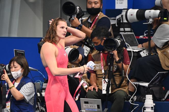 Marie Wattel après sa qualification pour la finale du 100 mètres papillon, dimanche 25 juillet à Tokyo.