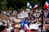 Manifestation contre l'instauration du passe sanitaire à l'appel de Florian Philippot, le 24 juillet 2021, place du Trocadéro, à Paris.