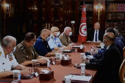 Capture d'écran de l'allocution télévisée de Kaïs Saïed, le 25 juillet 2021, au Palais de Carthage.