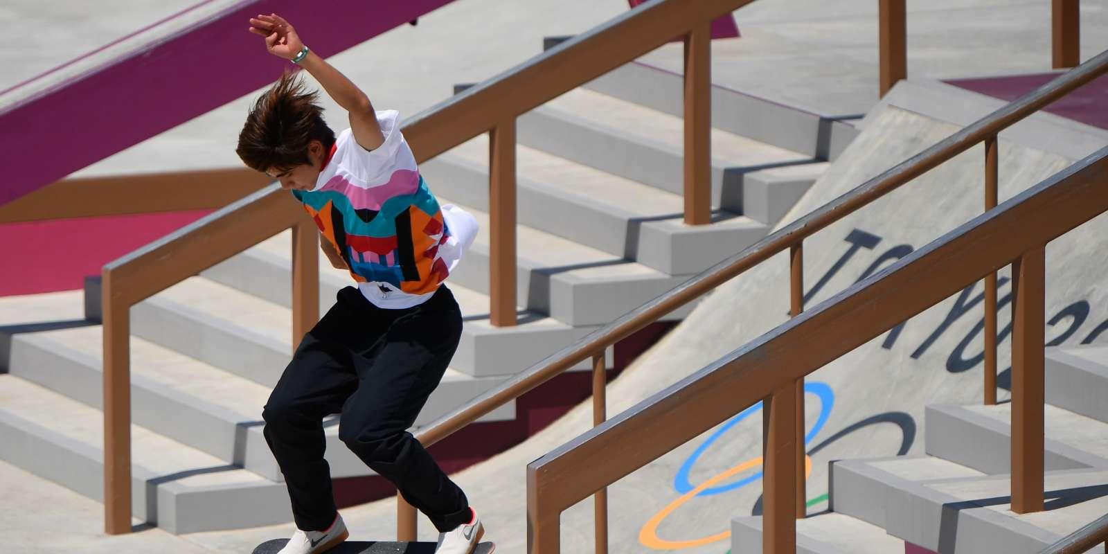 Le Japonais Yuto Horigome, premier champion olympique de l'histoire en skateboard, le 25juillet 2021.