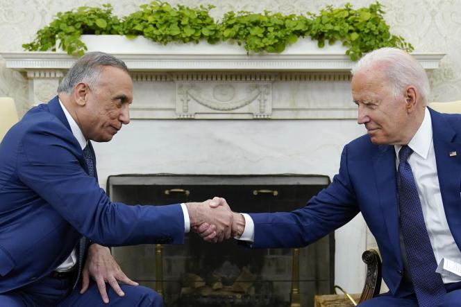 Le président américain, Joe Biden, et le premier ministre irakien, Mustafa Al-Kadhimi, à la Maison Blanche, à Washington, le 26 juillet2021.