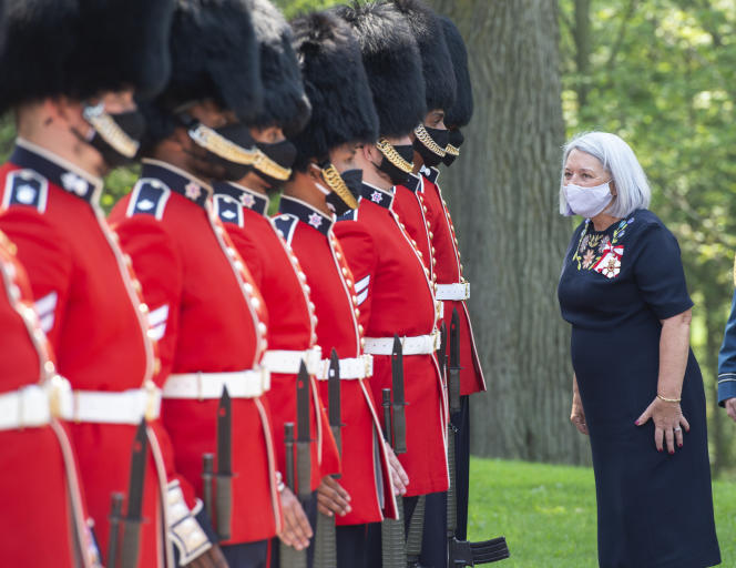 Governor General Mary Simon arrives at Rydo Hall in Ottawa, Ontario on July 26, 2021 with the Honorable Guard.