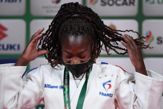 Clarisse Agbegnenou aux championnats du monde de judo, à Budapest, le 9 juin.