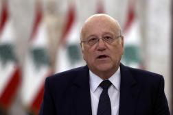 Najib Mikati, lors d'une conférence de presse, le 26 juillet 2021 à Beyrouth.
