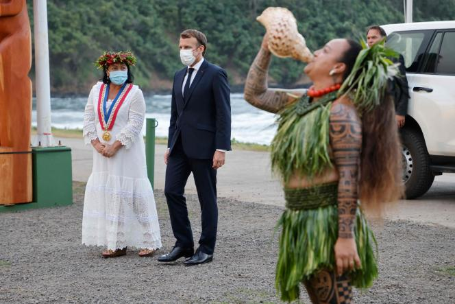 French President Emmanuel Macron and Hiva Oa Mayor Joëlle Frebault during a welcoming ceremony at Atuona on Hiva Oa, French Polynesia, July 25, 2021.