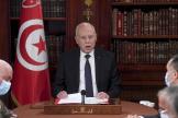 Le président tunisien, Kaïs Saïed, lors d'un conseil de sécurité, le 25 juillet 2021 à Tunis.