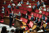Fin de la discussion à l'Assemblée nationale du projet de loi relatif à la gestion de la crise sanitaire, le 23 juillet 2021.