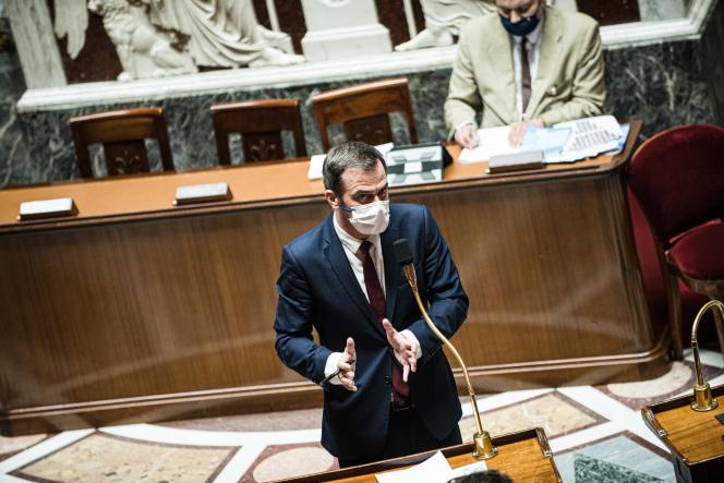 Olivier Veran lors des débats autour du projet de loi relatif à la gestion de la crise sanitaire àl'Assemblée nationale,le22 juillet 2021.